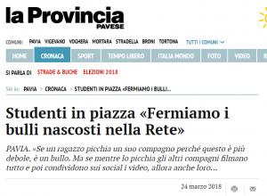 L'articolo comparso sulla Provincia Pavese dopo la manifestazione contro il Bullismo e Cyberbullismo