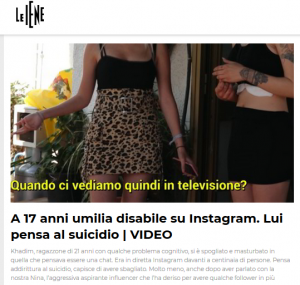 a 17 anni umilia disabile su Instagram. Le iene