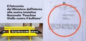 patrocinio del Ministero dell'Interno panchina gialla di Helpis contro il bullismo