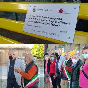 inaugurazione panchina gialla a Casalnoceto