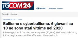 6 giovani su 10 vittime di bullismo e cyberbullismo nel 2020
